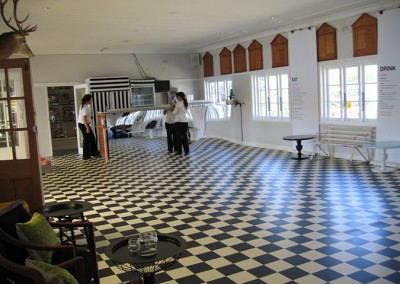 Manly Yacht Club hall decorated with checked floor