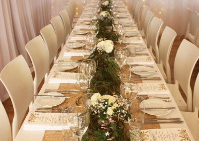 Hall- With flowers and hessian table decorations