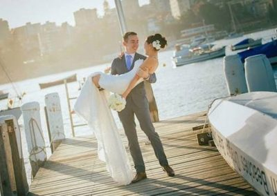 Wedding location shot on the clubs pontoon