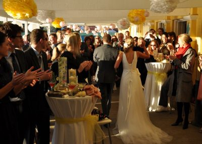 Balcony-White & yellow theme wedding