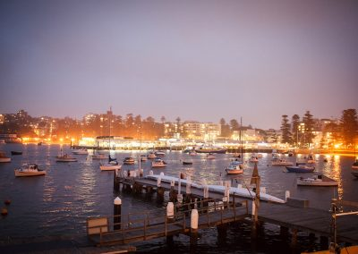 View from balcony of Manly Wharf at dusk