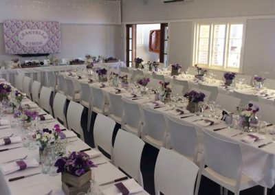 Hall-Long tables purple theme