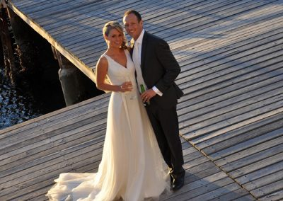 Wedding location shot on the deck behind the club house