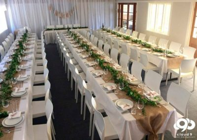 Hall-Formal wedding styling with hessian and vines