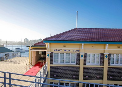 Manly-Yacht-Club-building-entrance-and-Manly-Cove-view